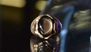 15 CT BLACK STAR SAPPHIRE RING 14K SZ 8