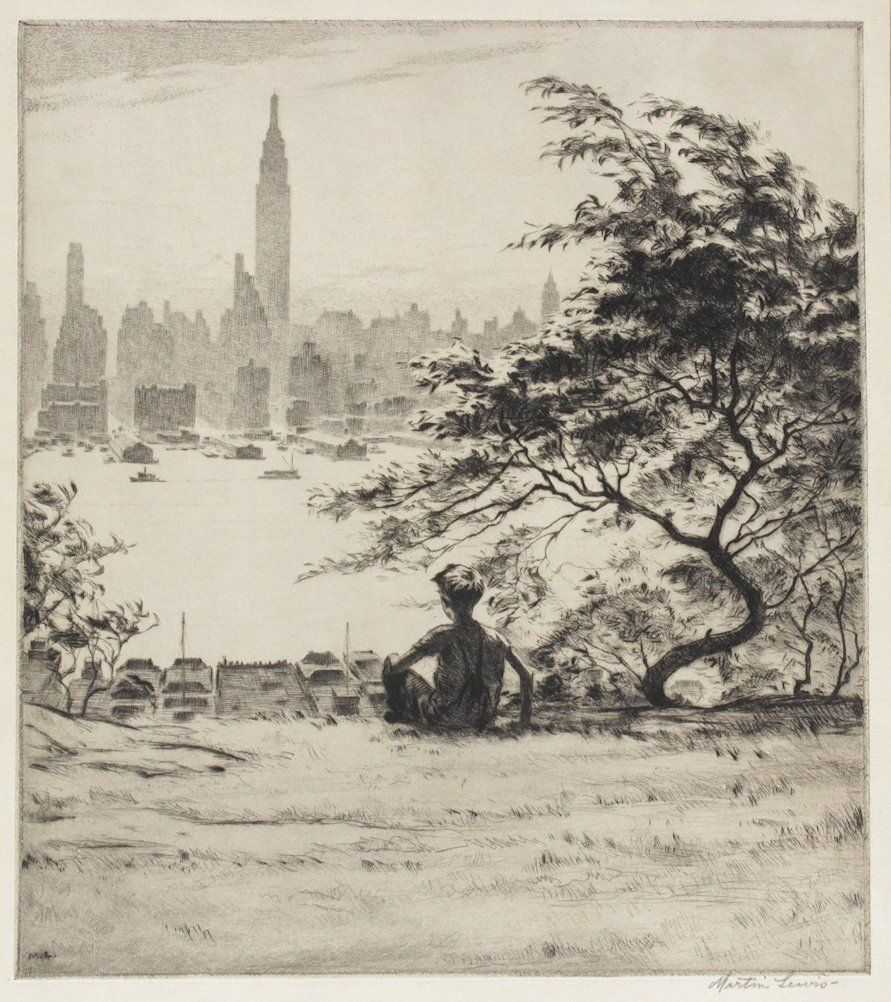 """RARE MARTIN LEWIS ETCHING """"FROM HOBOKEN HEIGHTS"""""""
