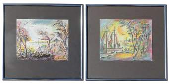 TWO MELOHS PASTEL PAINTINGS