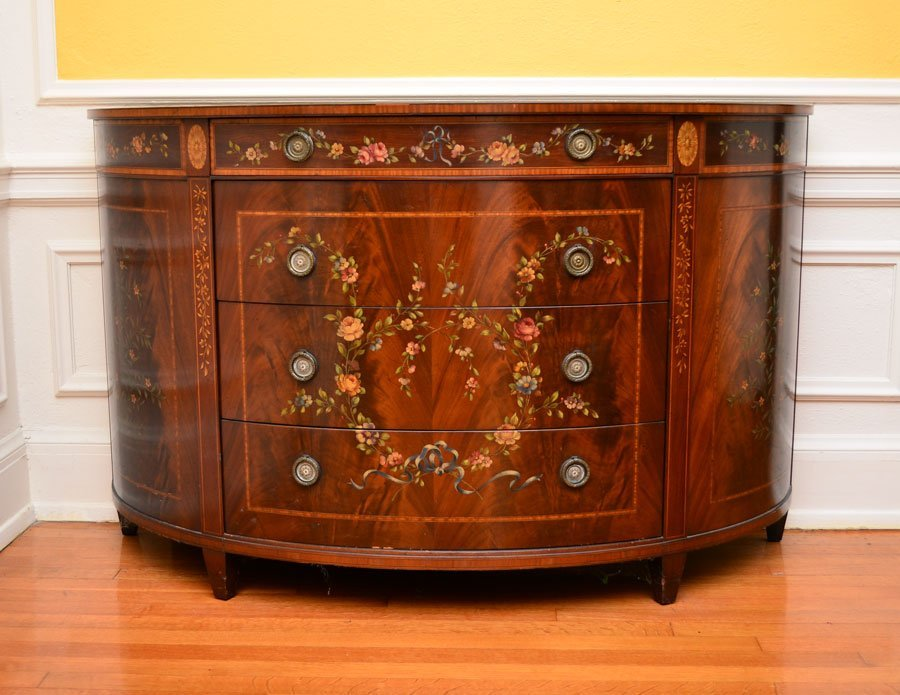 MAHOGANY PAINT DECORATED 4 DRAWER DEMI CHEST