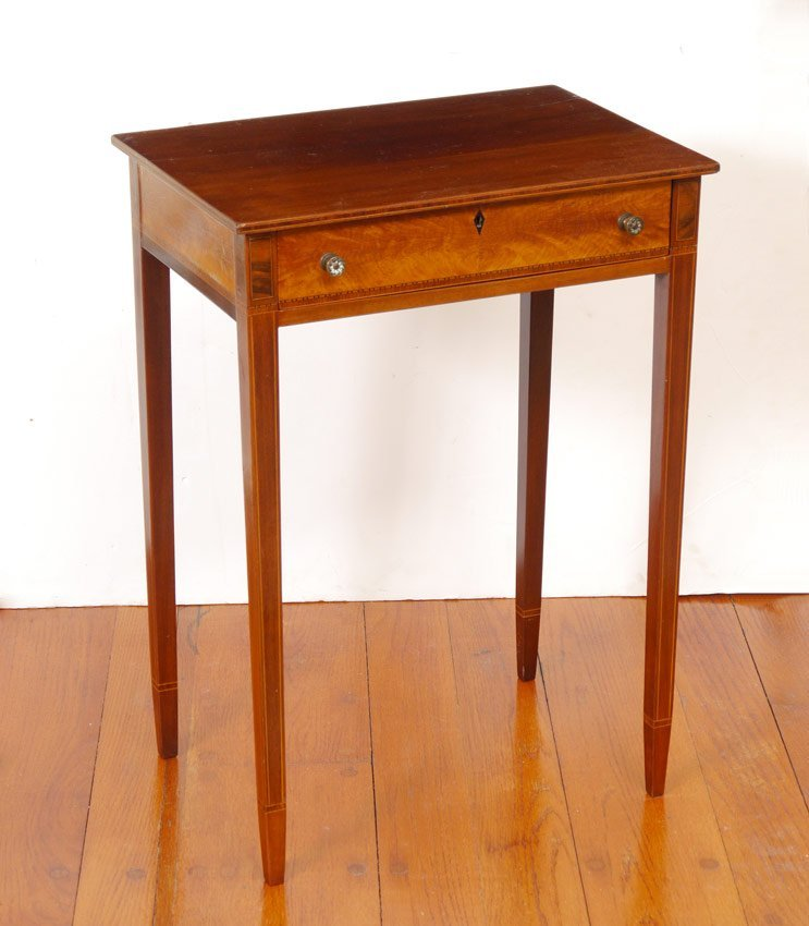 19TH C. HEPPLEWHITE STYLE INLAID SIDE TABLE
