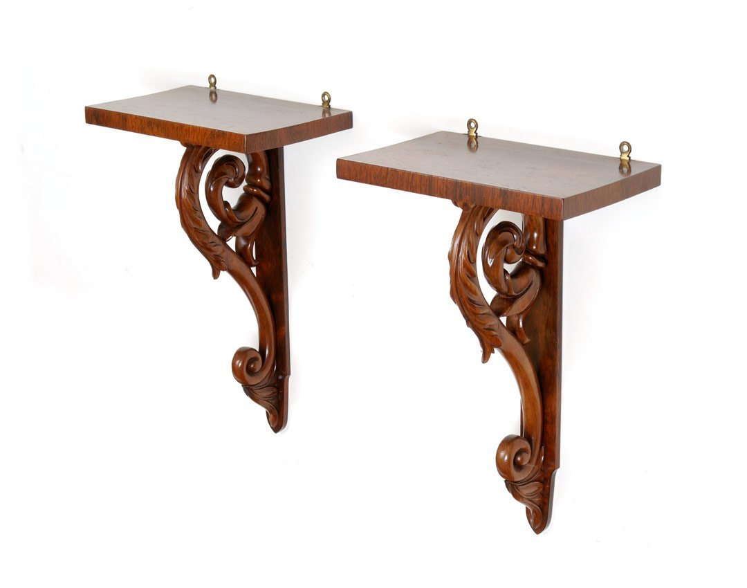 PAIR 19TH C. ENGLISH CARVED ROSEWOOD WALL BRACKETS