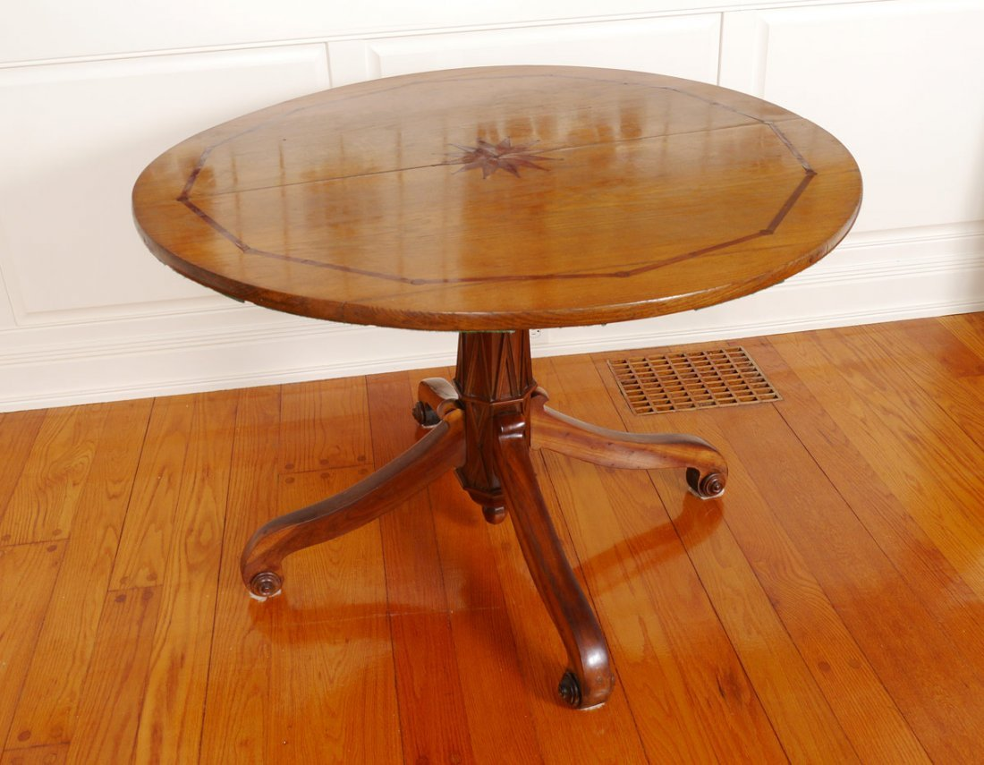 ENGLISH INLAID LOO PEDESTAL TABLE