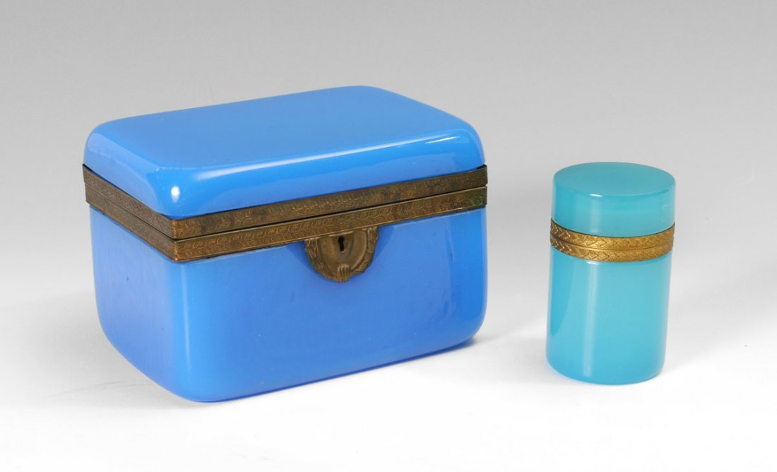 2 BLUE OPALINE GLASS BOXES