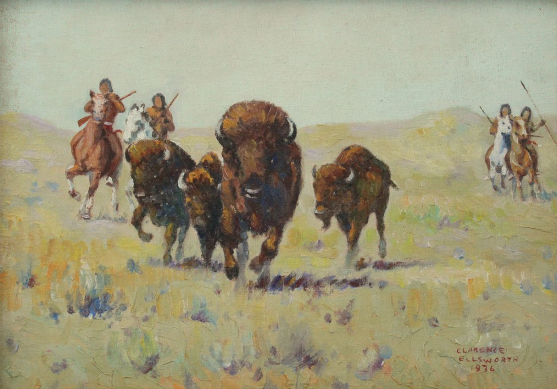 CLARENCE ELLSWORTH BUFFALO HUNT PAINTING 1936