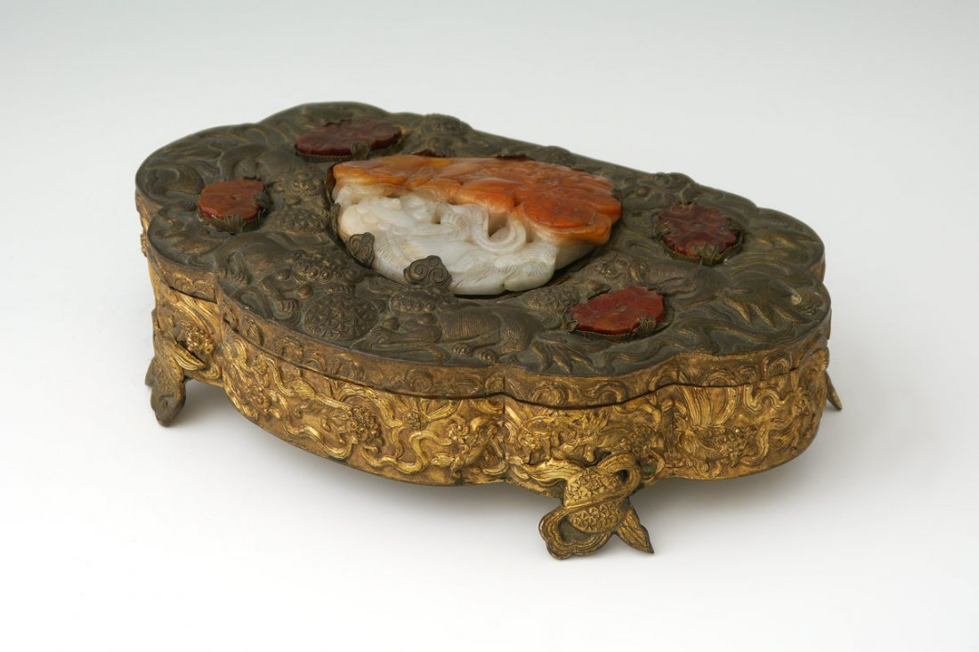 CHINESE EMBOSSSED GILT METAL DRESSER BOX
