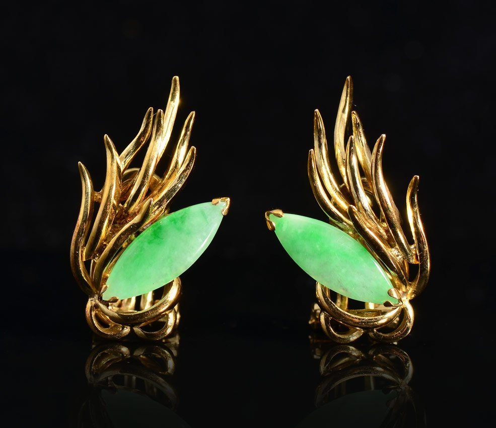 14K GOLD AND JADE EARRINGS