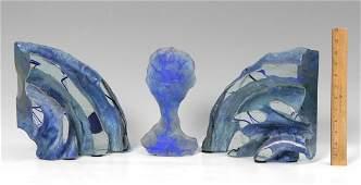 PAIR ART GLASS BOOKENDS & SCULPTURE