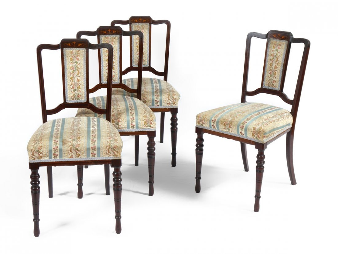 4 INLAID DINING SIDE CHAIRS