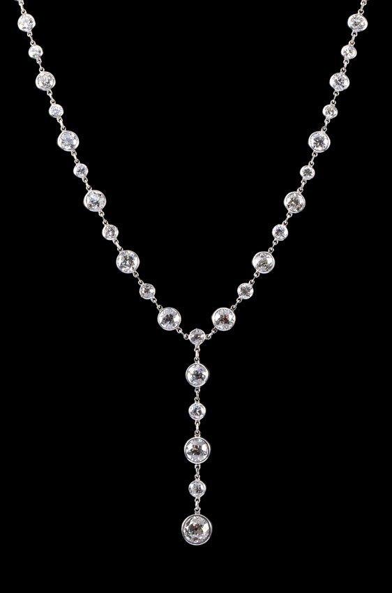 10.48 CT DIAMOND Y NECKLACE W/ 2 GIA CERT.
