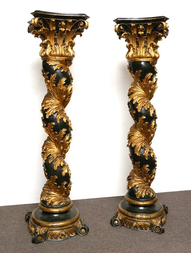 PAIR ROCOCO STYLE CARVED WOOD COMPOSITE PEDESTALS