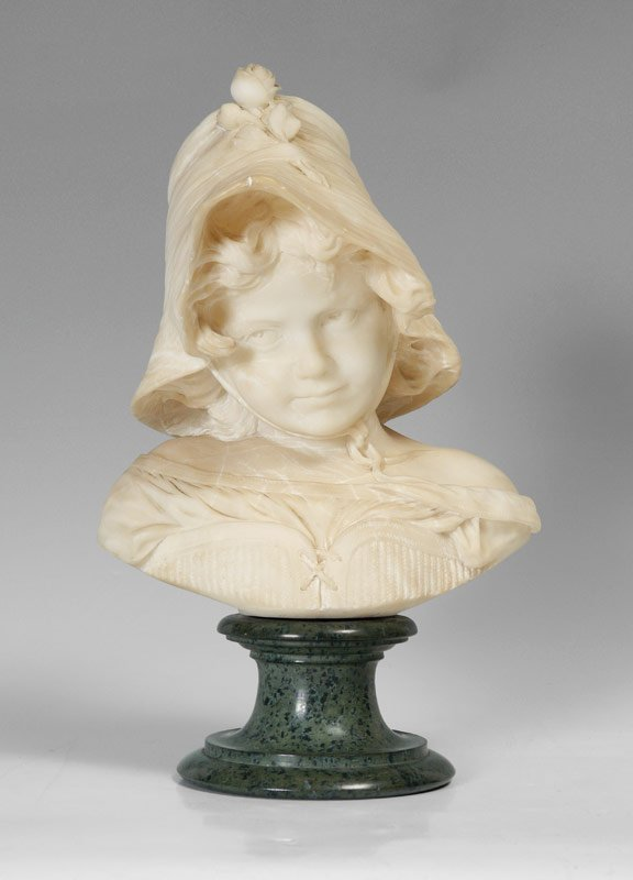 ALABASTER BUST OF A YOUNG GIRL SIGNED SCHEGGI