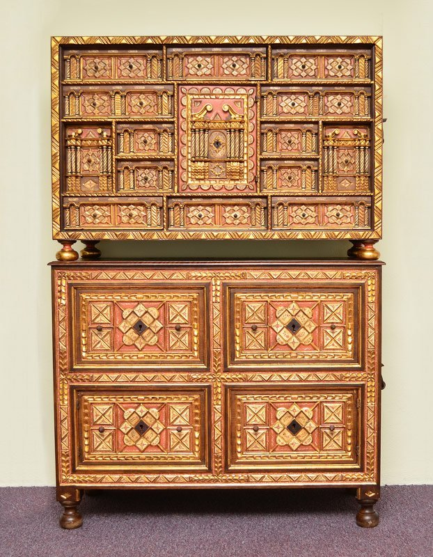 SPANISH VARGUENO CHEST ON STAND