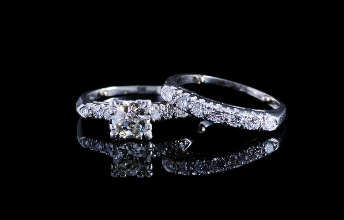 PLATINUM 1.20 CT DIAMOND WEDDING BRIDAL RINGS SZ 4
