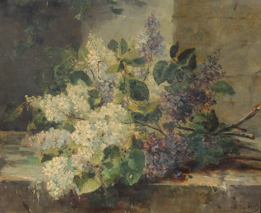 EXCEPTIONAL ILLEGIBLY SIGNED LILAC PAINTING