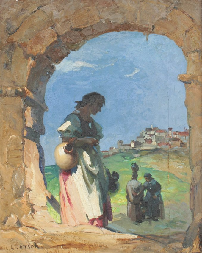 LAJOS (LOUIS) JAMBOR ''UNDER THE ARCH'' PAINTING