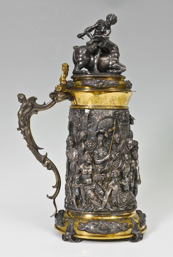 MONUMENTAL ELKINGTON VICTORIAN SILVERPLATE TANKARD