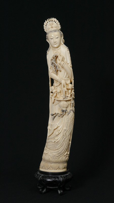 MONUMENTAL CARVED IVORY QUAN YIN FIGURE