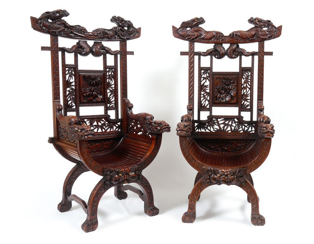 PAIR PROFUSELY CARVED ORIENTAL DRAGON CHAIRS