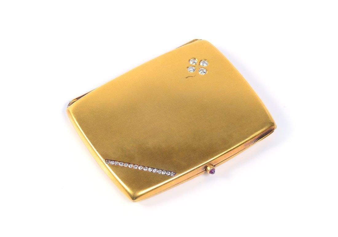 14K GOLD AND DIAMOND SET CIGARETTE CASE