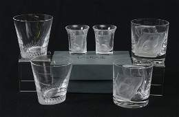 6 FRENCH LALIQUE CRYSTAL WHISKEY GLASSES