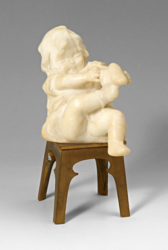 SIGNED ALABASTER & BRONZE SCULPTURE YOUNG CHILD