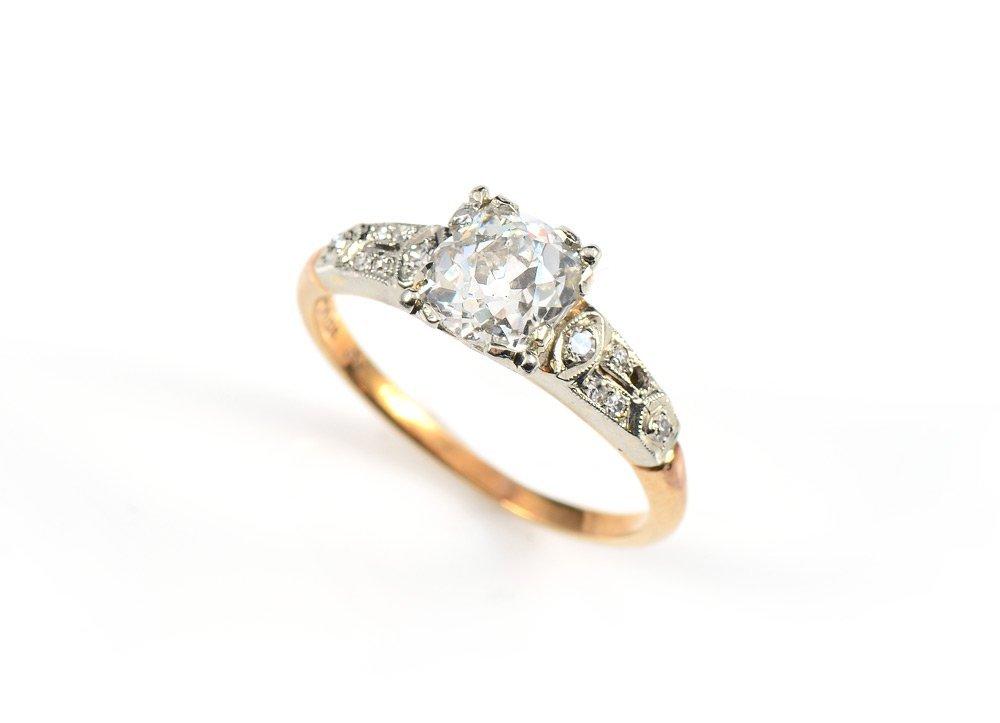 .85 CT CENTER OLD MINE CUT DIAMOND RING 18K