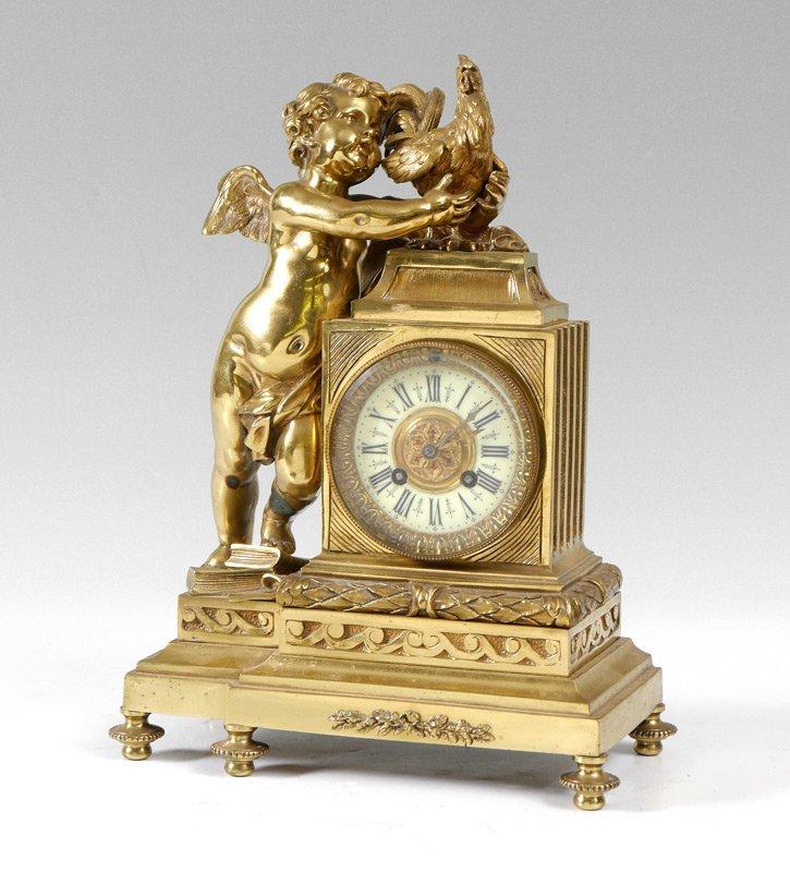 FIGURAL FRENCH GILT BRONZE CLOCK