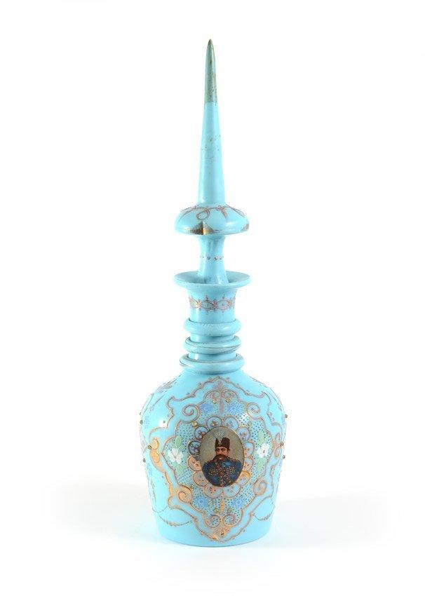 BOHEMIAN BLUE GLASS PORTRAIT BOTTLE 21'' TALL