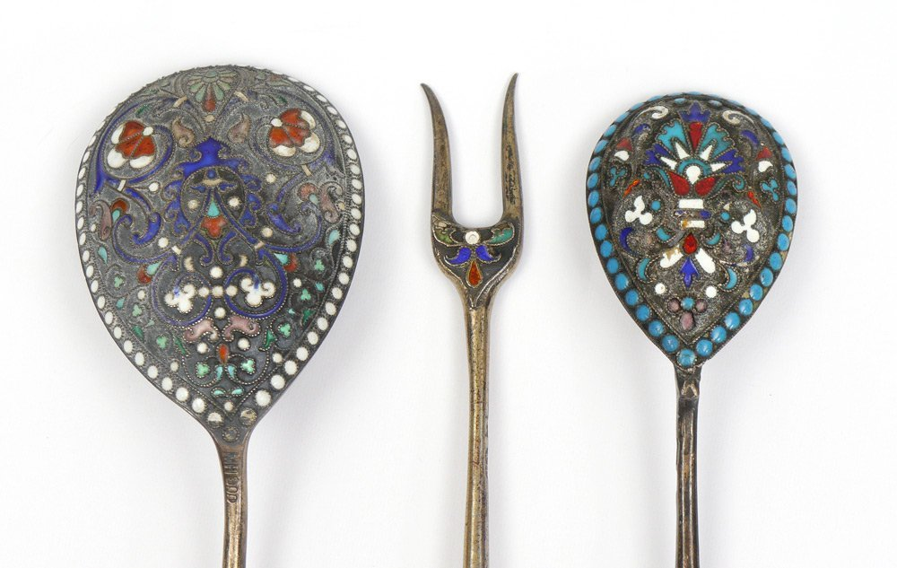 3 PIECE RUSSIAN & CONTINENTAL ENAMELED SILVER