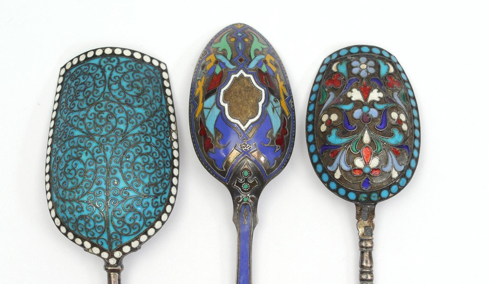 3 PIECE RUSSIAN ENAMELED SILVER SPOONS
