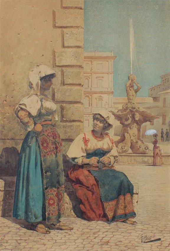 GIUSEPPE AURELLI ITALIAN PAINTING TWO YOUNG LADIES