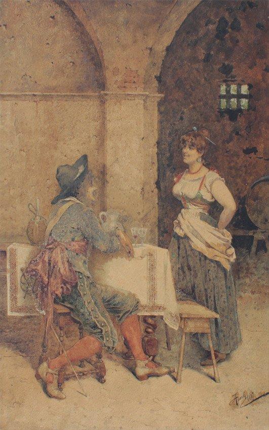 GIUSEPPE AURELLI INTERIOR TAVERN PAINTING