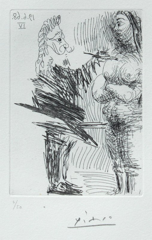PICASSO DRYPOINT ETCHING ARTIST & NUDE MODEL,1968