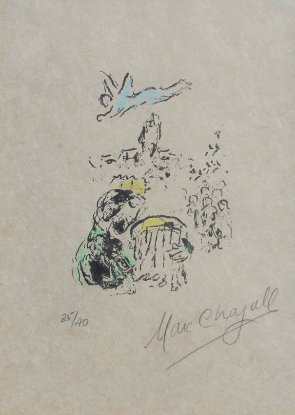 MARC CHAGALL SIGNED LITHOGRAPH KING DAVID
