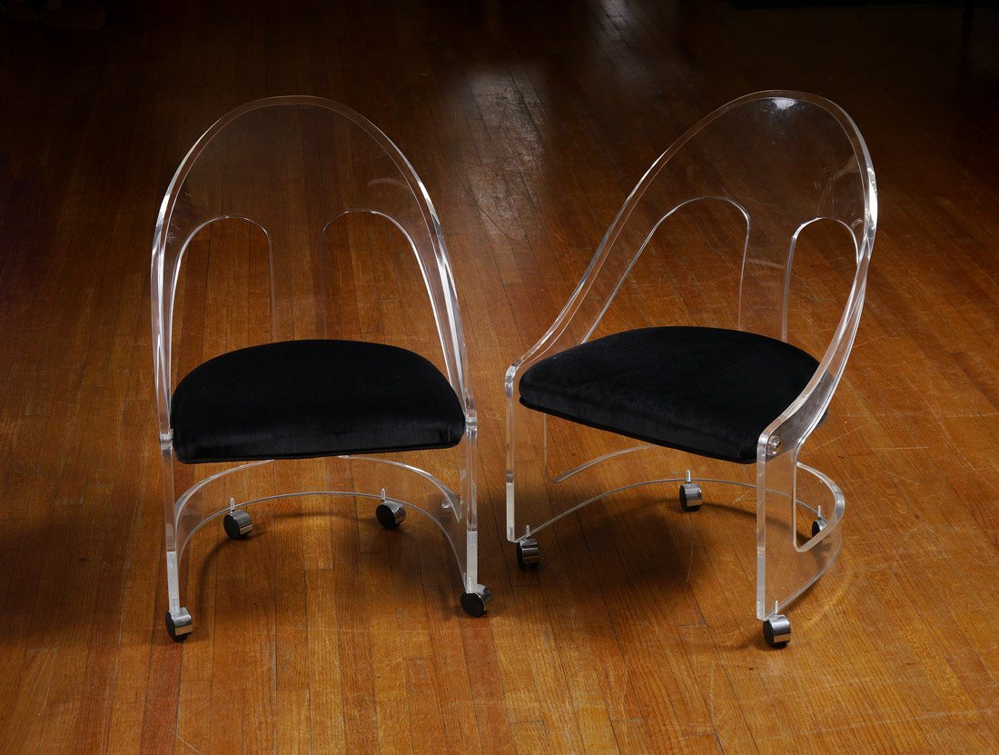 LUCITE CHAIRS HILL MFG. PAIR