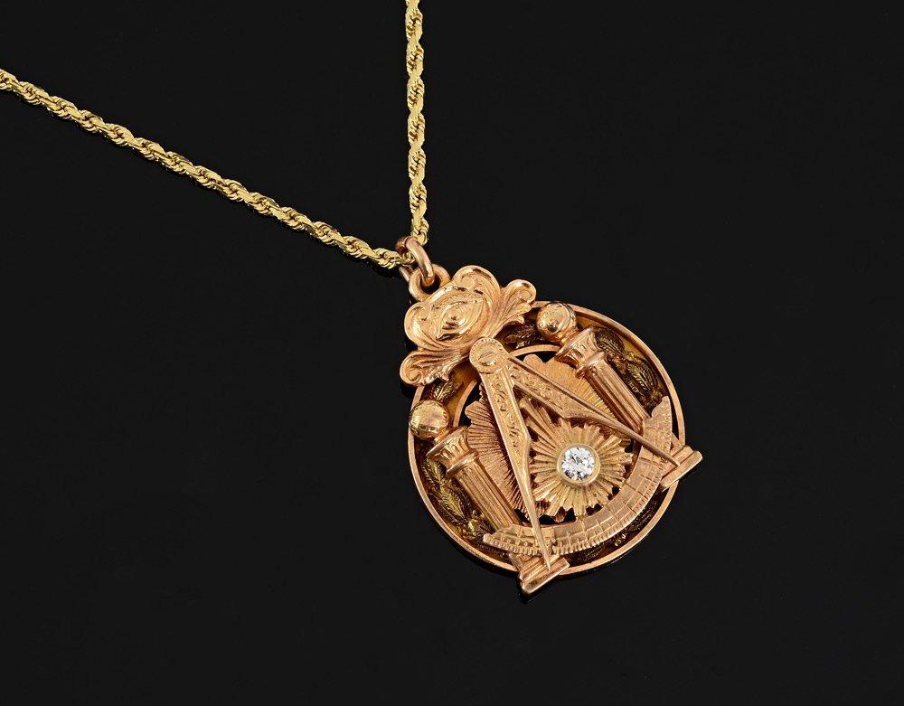 DIEGES & CLUST MASONIC PENDANT 14k GOLD NECKLACE