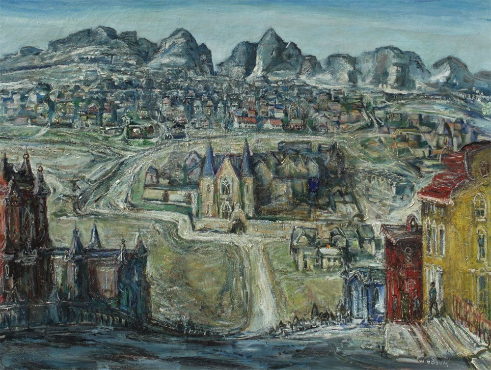 W.E. BAUM MEDIEVAL CITY N.A.D. EXHIBITED PAINTING