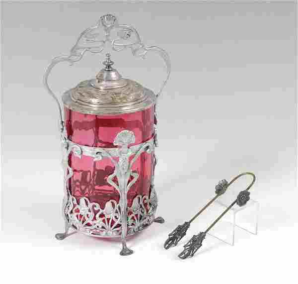CRANBERRY GLASS PICKLE CASTOR