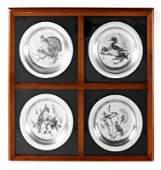 4 JAMES LANSDOWNE STERLING COMMEMORATIVE PLATES
