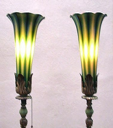 1003: PR DURAND ART GLASS TORCHIERE LAMPS