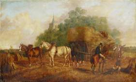 1050A: EXCEPTIONAL 19TH C O/C HAY MAKING
