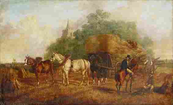 EXCEPTIONAL 19TH C O/C HAY MAKING