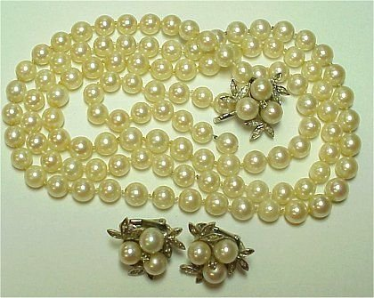 1005A: 6mm PEARLS 14k GOLD NECKLACE CLIP EARR