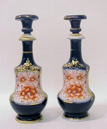 1294: PAIR OF COBALT PORCELAIN SCENT BOTTLES