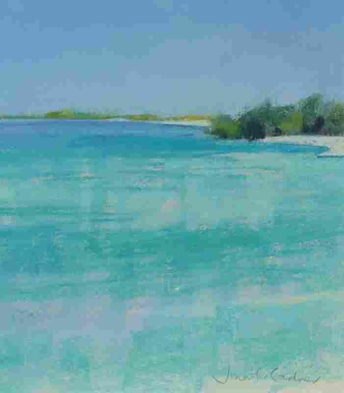 JENNIFER GARDNER TROPICAL BEACH PAINTING