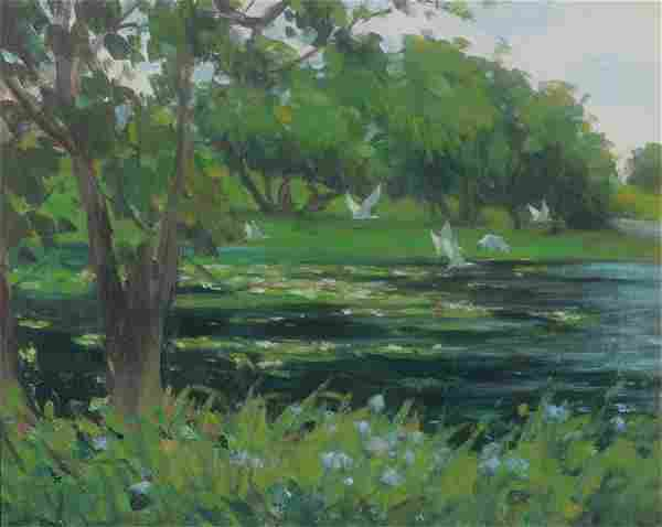 VERY GOOD CONTEMP POND SCAPE PAINTING WITH HERONS