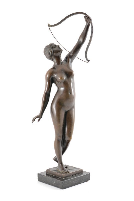 DIANA WITH BOW BRONZE SCULPTURE SIGNED HOFFMANN