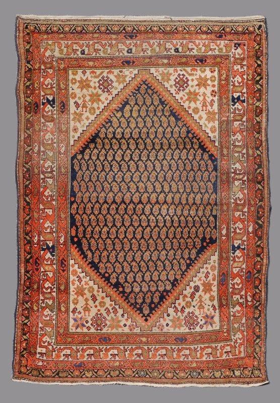 "SEMI-ANTIQUE KURDISH-PERSIAN HK WOOL RUG 4'6""x6'5"""