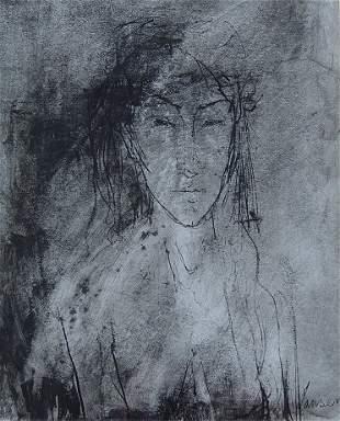 IMPORTANT JEAN JANSEM INK/WASH PORTRAIT